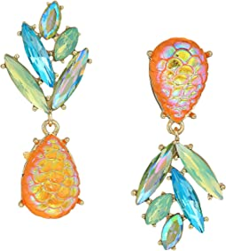 Yellow and Gold Tone Perfect Non-Matching Pineapple Earrings