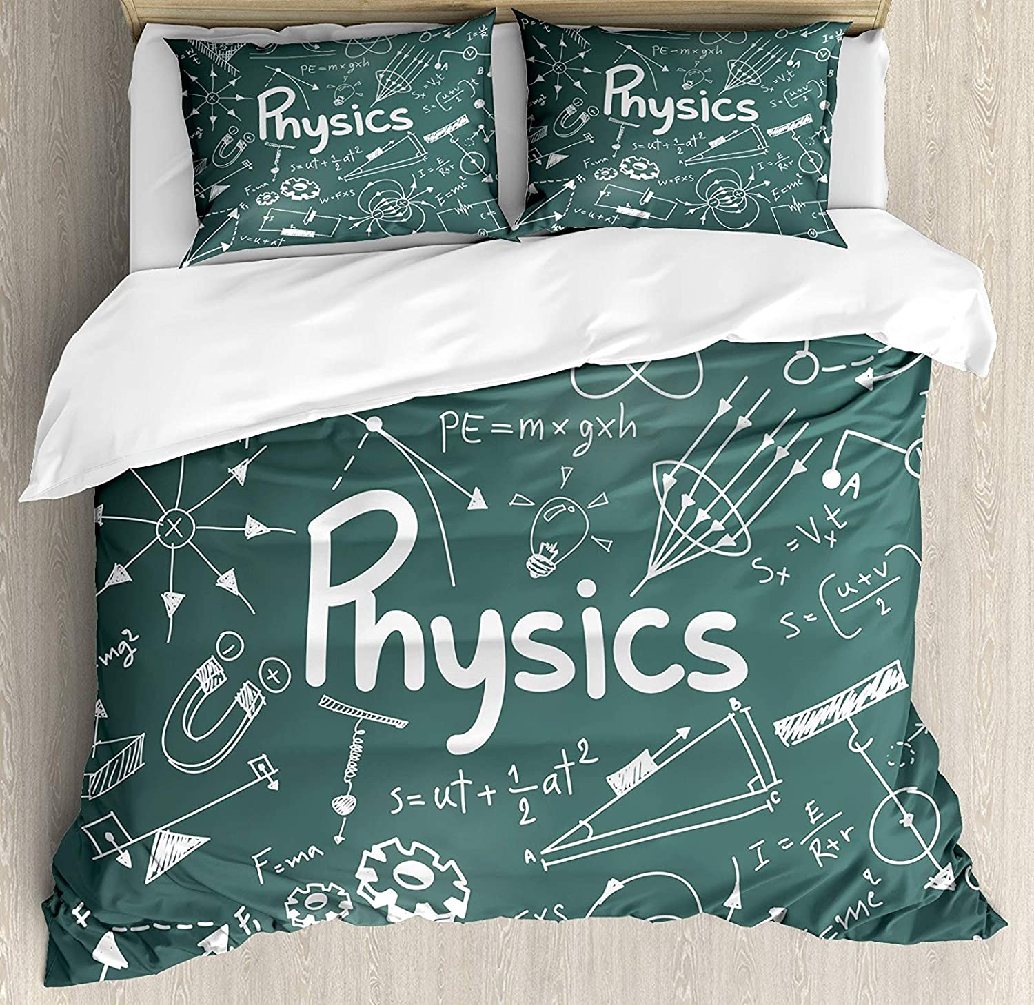 Doodle Full Size 4 Pcs Bedding Set, Physics Science Education Theme Mathematical Formula Equation on School Board All Season Duvet Cover Bed Set, Army Green White