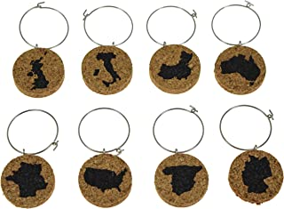 Cork Wine Glass Charms (20+ Unique Sets) - Set of 8 - Engraved Countries on Each Charm: USA, Spain, Germany, France, Australia, China, Italy and Britain - Tags to Mark Your Drink (Countries)