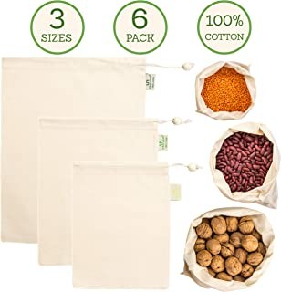 Muslin Produce Bags - Organic Cotton Reusable Eco Bag - 3 Sizes (Large, Medium, Small) in Set of 6 - Double-Stitched with Drawstring - Tare Weight on Tag - Grocery and Storage Food Bag