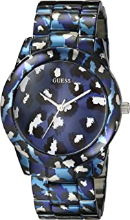 GUESS Women's U0425L1 Iconic Blue Watch with Animal Print Bracelet & Dial