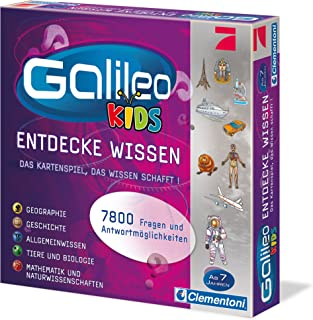 Clementoni 69159.3 Galileo Kids quiz, question answer 7 years, educational card game, general knowledge and fun for the wh...