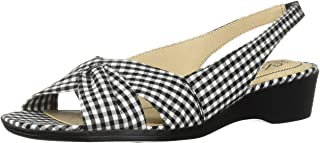 LifeStride Women's Mimosa 2 Flat Sandal, black/white, 8 N US