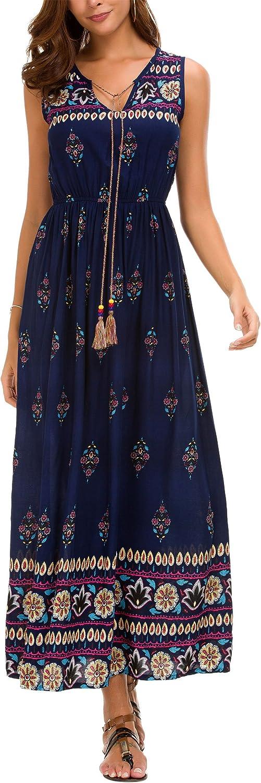DGMYG Womens Sleeveless Floral Print Bohemian A line Summer Beach Party Long Maxi Dress