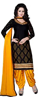 LUGDA Women's Vastra Cotton Embroidery Semi Stitched Salwar Suit (Black and Yellow, Free Size)
