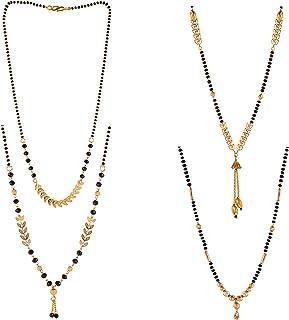 Brado Jewellery One Gram Brass Gold Plated Combo of 4 Mangalsutra Necklace Pendant Tanmaniya Nallapusalu Black Pearl Bead ...