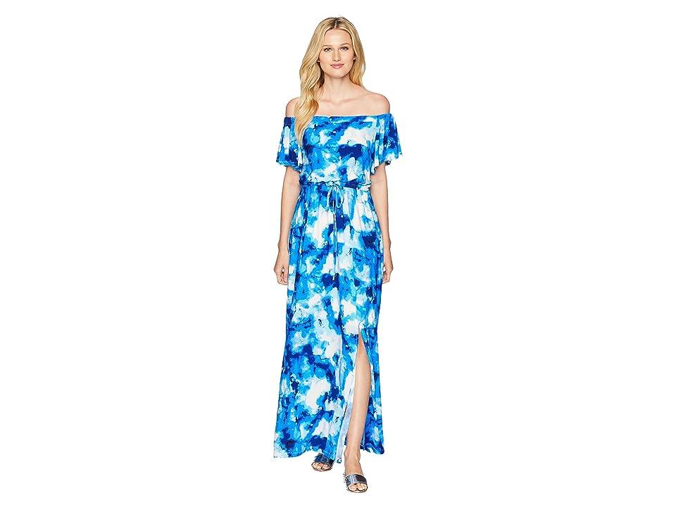 Nine West ITY Off-the-Shoulder Blouson Maxi Dress with Waist Tie (Cobalt Multi) Women