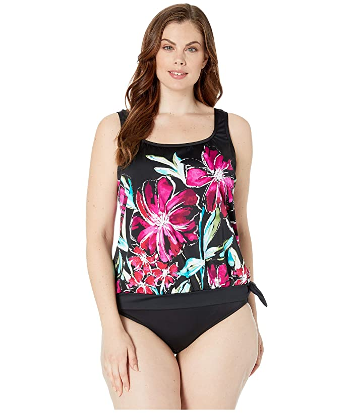 Maxine of Hollywood Swimwear Plus Size in Full Bloom Banded Scoop Blouson Tankini Top (Multicolored) Women