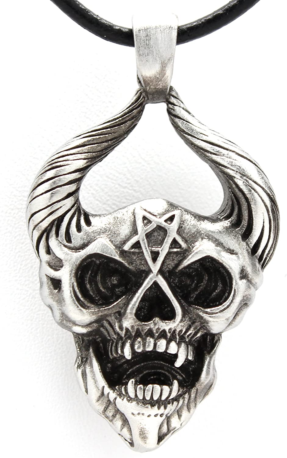 Trilogy Jewelry Pewter Horned Demon Head with Inverted Pentagram Pendant on Leather Necklace