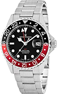 Revue Thommen GMT Mens Stainless Steel Professional Automatic Watch - 42mm Analog Black Face with Luminous Hands, Magnified Date and Sapphire Crystal - Swiss Made 2nd Time Zone Watch 17572.2136