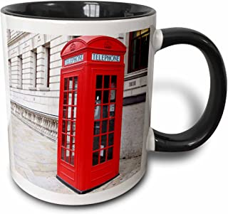 3dRose 56177_4 London's Famous Red Phone Booths Ceramic Mug, 11oz, Black/White
