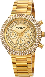 Men's Multifunction Chronograph Watch – Encrusted with Beautiful Sparkling Crystals - Stainless Steel Link Bracelet - AK1075