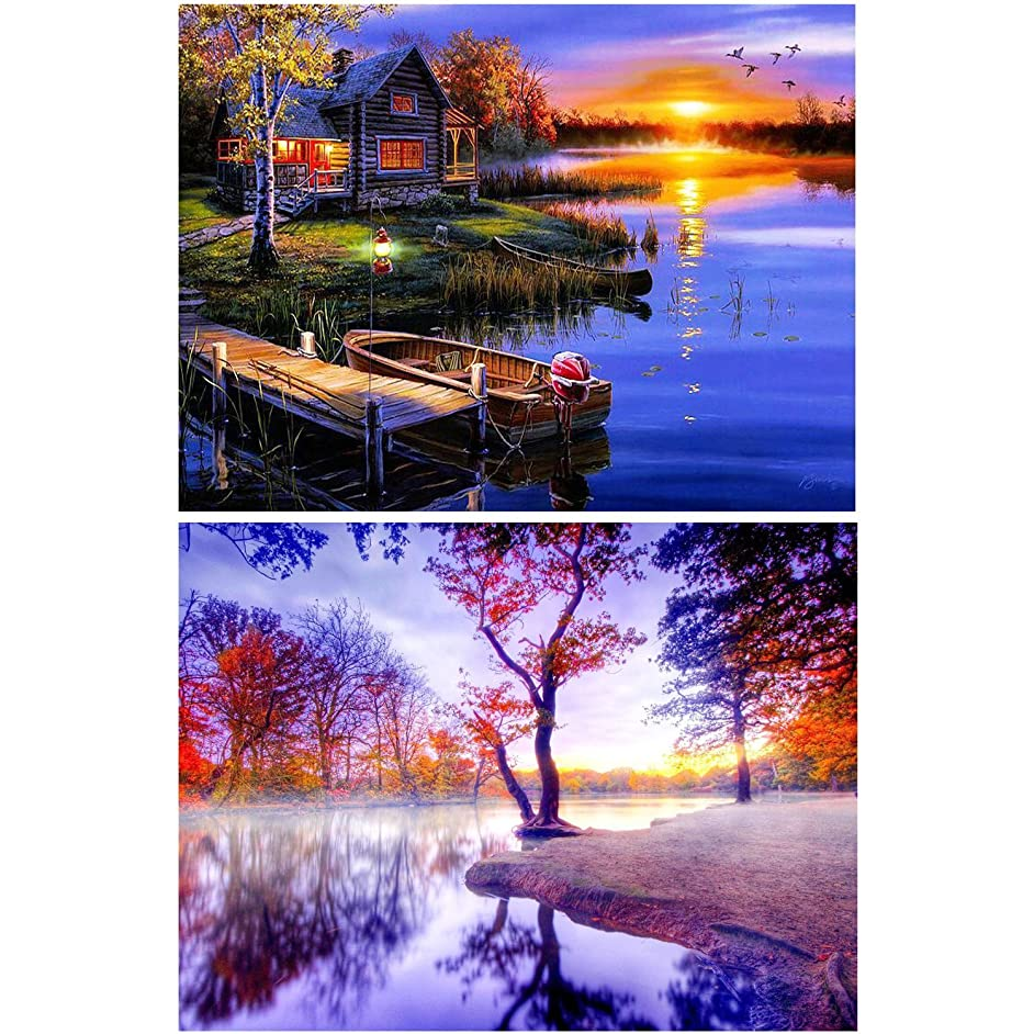 2 Pack DIY 5D Diamond Painting Kit Full Drill Painting Diamond Sticker Stitch Painting Sets Rhinestone Embroidery Set Cross Stitch Arts Craft For Living Room Decoration,Beautiful Scenery 40X30CM/16X12