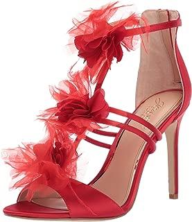 Jewel Badgley Mischka Women's DUSTINE Sandal, red satin, 7.5 M US