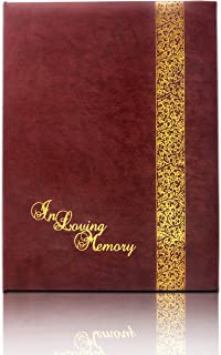 """SmartChoice Funeral and Memorial Service Guest Register Book """"in Loving Memory"""", Burgundy Leatherette, Split Ring Format with Removable Pages, 7.25x10 Inches"""