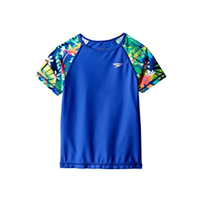 Speedo Kids Printed Short Sleeve Rashguard (Little Kids/Big Kids) (Dark Peri) Girl