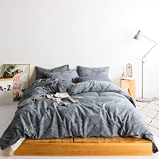 SUSYBAO 3 Pieces Duvet Cover Set 100% Natural Cotton Queen Size Grey Botanical Leaves Print Bedding Set 1 Duvet Cover 2 Pillowcases Hotel Quality Soft Breathable Comfortable Durable with Zipper Ties