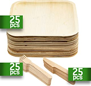 KIKI Green Compostable Plates 10 Inch Large Pack 75 25 Forks 25 Knifes 25 Palm Leaf Plates - Bamboo Utensils are Sturdy and Reusable Dinnerware Set Good for Camping and Birthday Party