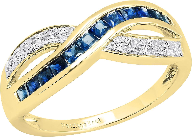 Dazzlingrock Collection Princess Gemstone & Round White Diamond Ladies Wedding Band Anniversary Ring, 14K Yellow Gold