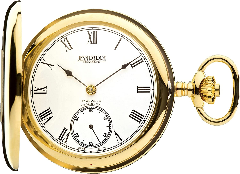 Half Hunter 9ct Gold Polished Omaha Mall Pocket Movement - Direct sale of manufacturer Watch Jewel 17