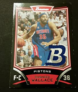 Rasheed Wallace Pistons North Carolina 2008 Bowman Game Jersey Certified JG3