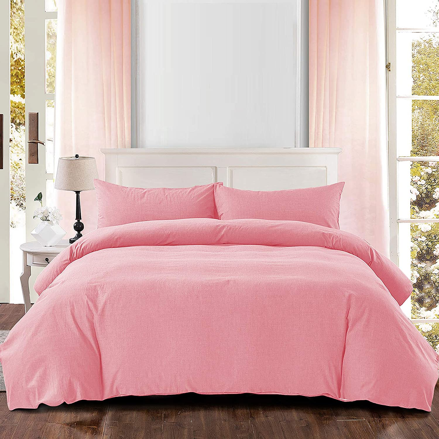 NEWLAKE Duvet Cover NEW before selling Queen Washed Solid Save money Sets Cotton Duvets