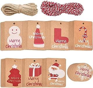 ABOAT - Etiquetas para colgar con cuerda de 40 m, 160 unidades, papel kraft de Navidad, 8 diseños para Navidad, fiesta, boda, vacaciones, suministros