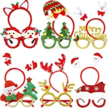 Best Christmas Glasses Frame and Headbands - 12 Pieces Glittered Creative Funny Eyewear and Cute Hair Hoop Decoration Accessories Giftset for Xmas Party, Holiday Favors, Assorted Styles Review