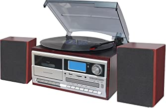 TechPlay ODC128BT 3-Speed Turntable with Cassette Player/Recorder, CD,MP3 SD Card / USB Player, Digital AM / FM Radio, AUX...