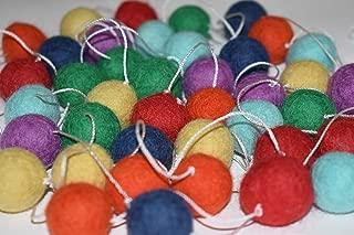 100% Wool Felt Ball Garland | Pom Pom Garland - 40 Felt Balls (20mm, Rainbow)