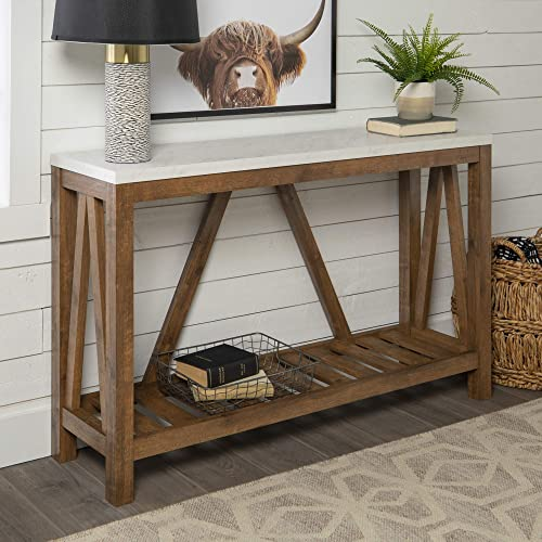 Walker Edison Furniture Modern Farmhouse Accent Entryway Table, 52 Inch - White Marble/Walnut Brown