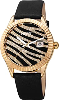 August Steiner Sparkling Crystals Women's Watch - Grooved Sparkling Bezel with Striated Zebra Pattern Dial on Satin Over L...