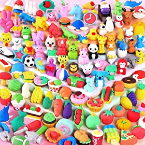 Moosia 120 Pack Animal Erasers for Kids Bulk Pencil Erasers Toy 3D Mini Erasers Puzzle Erasers Food Take Apart Erasers Treasure Box Game Prize Desk Pet Party Favors for Kid Gift Classroom Reward Prize