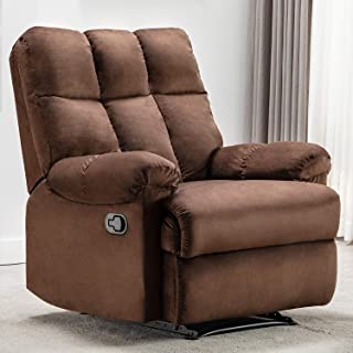 Bonzy Home Overstuffed Fabric Recliner Chair - Heavy Duty Manual Recliner - Home Theater Seating - Bedroom & Living Room Chair Recliner Sofa (Chocolate)