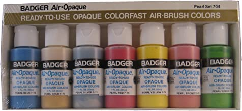 فرشاة هوائية من شركة Badger للفرشاة الهوائية جاهزة للطلاء بالماء من الأكريليك، لؤلؤي، 1 أونصة لكل فرشاة، مجموعة من 7