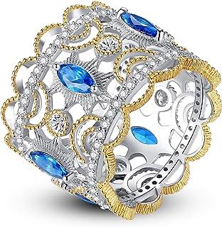 Gemshadow donne in argento Sterling 925zaffiro blu zircone Wide Band finger Ring