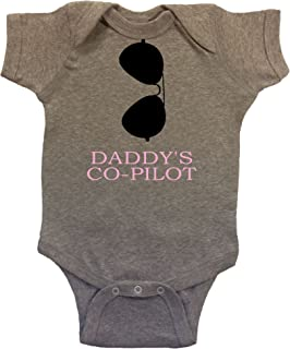 Daddy's Co-Pilot Aviators Baby Bodysuit Black/Pink Vinyl