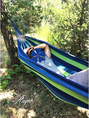 Anyoo Garden Cotton Hammock Comfortable Fabric Hammock with Tree Straps for Hanging Durable Hammock Up to 450lbs Portable Ham