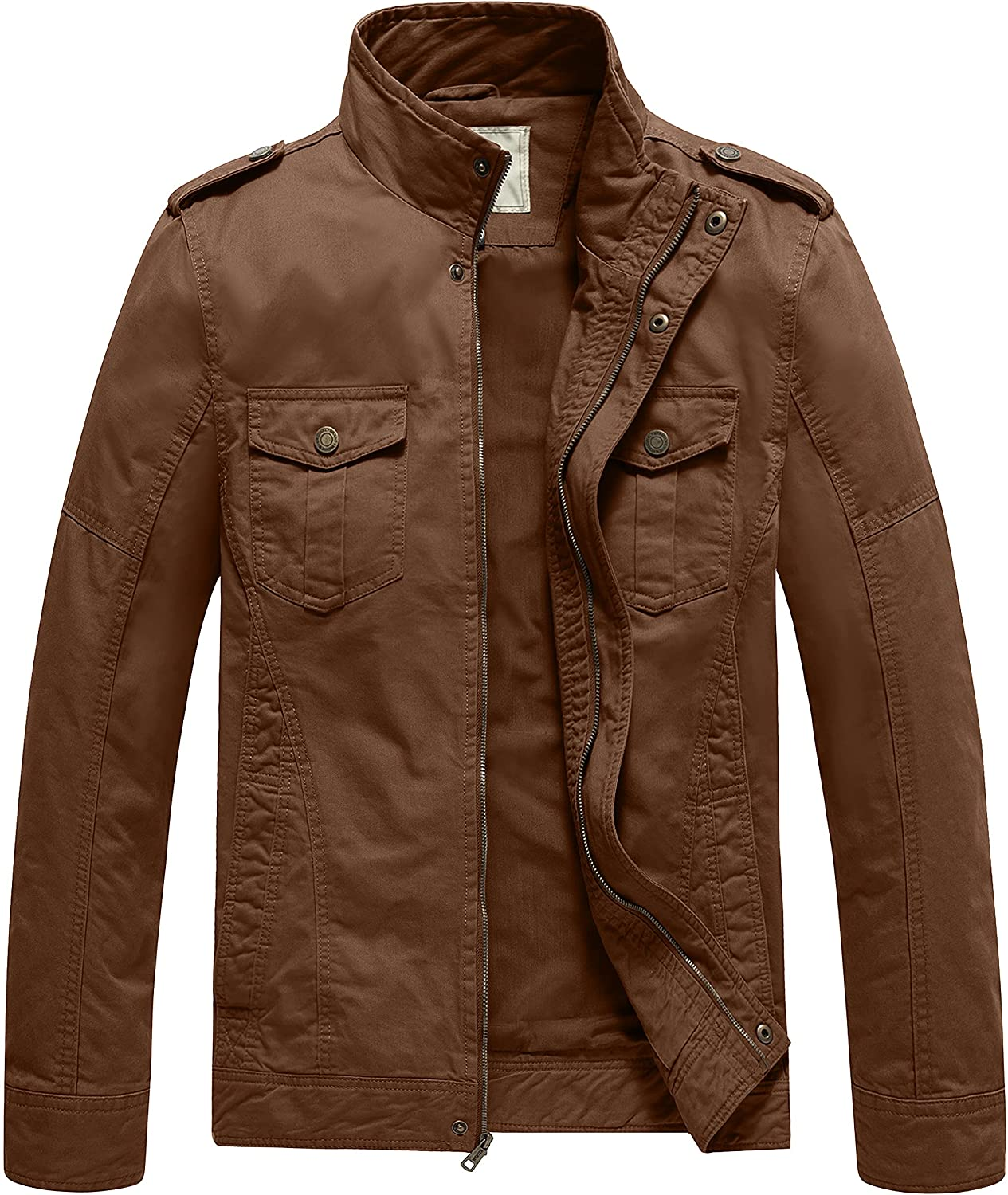 WenVen Men's Casual Washed Jacket Max Special price 48% OFF Military Cotton