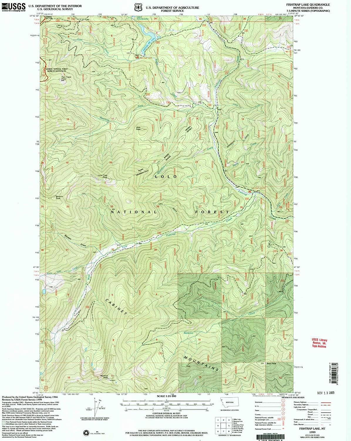 Fishtrap Lake MT topo map, 1 24000 Scale, 7.5 X 7.5 Minute, Historical, 1999, Updated 2003, 26.9 x 22.1 in