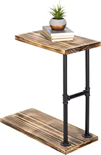 MyGift 18-Inch Burnt Wood & Black Pipe C-Shaped End Table
