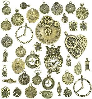 Colgante de bronce envejecido, colgante de cara de reloj, colgante de vaporizador a granel, varios engranajes de steampunk, colgantes para collar, hacer bisuteria Steampunk
