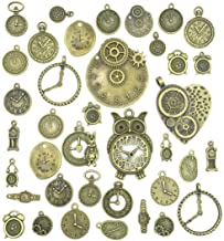 Antiqued Bronze Clock Face Charm Pendant, JIALEEY Wholesale Bulk Lots Mixed Gears Steampunk Charms Pendants DIY for Necklace Bracelet Jewelry Making and Crafting, 100g(38PCS)