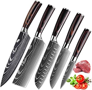 KEPEAK Couteau de Cuisine, Couteaux de Cuisine Tranchants en Acier Inoxydable Multi-Tailles avec Poignée Confortable, Cout...