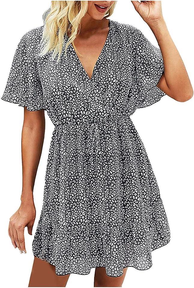 WUHOVILA Summer Dress for Women Floral Print Mini Dress Ruffle Short Sleeve Print Dress V Neck Casual Short Dresses