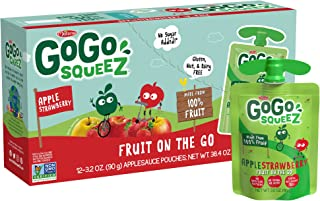 GoGo squeeZ Applesauce on the Go, Apple Strawberry, 3.2 Ounce (12 Pouches), Gluten Free, Vegan Friendly, Unsweetened Applesauce, Recloseable, BPA Free Pouches (Packaging May Vary)