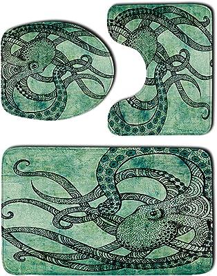Soapow Ensemble de tapis de WC 3 pièces - Tapis de contour de WC - Tapis de bain durable pour salle de bain