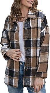 Himosyber Women's Casual Woolen Plaid Lapel Button Down Shacket Jacket Shirts Coat