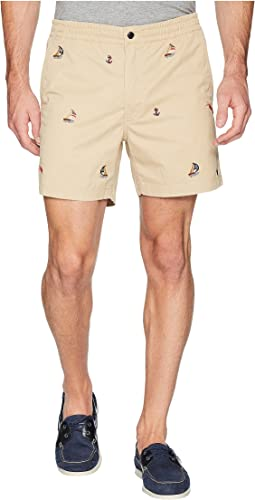 Coastal Embroidery Stretch Twill Shorts