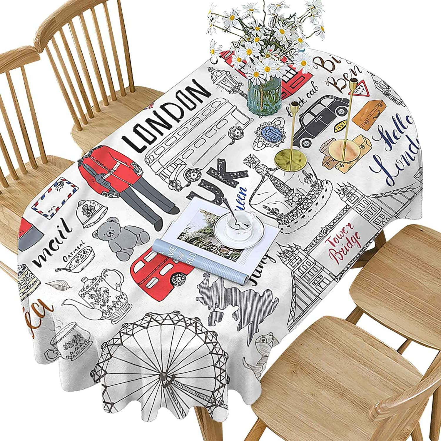 Online limited product Hiiiman Doodle Polyester Oval Tablecloth London Max 83% OFF Decker Bu Double